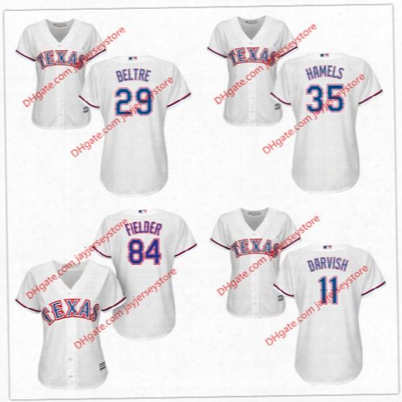 Women Texas Rangers Jersey Adrian Beltre Cole Hamels Yu Darvish Prince Fielder White Girl