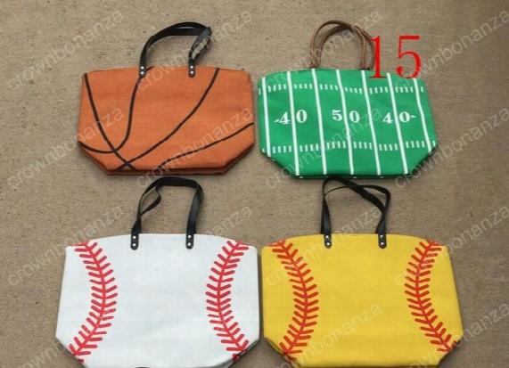 Women's Handbag Softball Baseball Stitching Bags Baseball Women Cotton Canvas Sports Shoulder Bags Lady Baseball Softball Tote Bag
