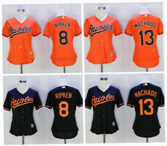 Womens Baltimoore Orioles Jerseys 13 Manny Machado 8 Cal Ripken Lady Girls Mlb Baseball Jerseys Embroidery Baseball Jerseys Best Quality