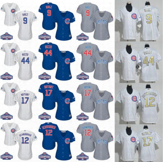 Womens Chicago Cubs 17 Kris Bryant 9 Javier Baez 44 Anthony Rizzo World Series White Gold Champions 12 Kyle Schwarber Stitched Blue Jerseys