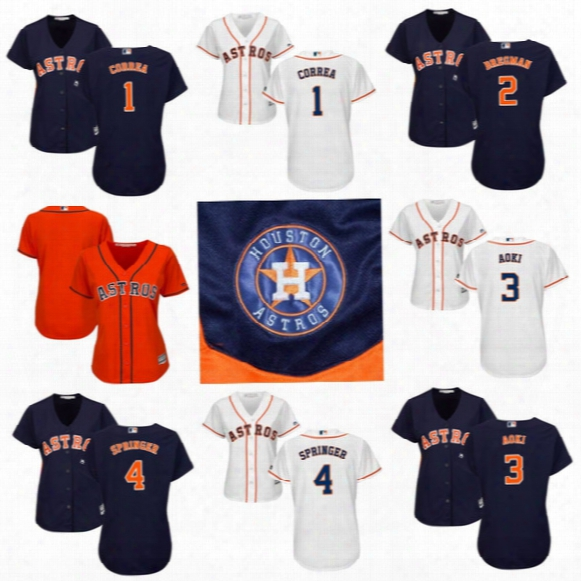 Womens Jerseys Houston Astros 1 Carlos Correa 2 Alex Bregman 3 Norichika Aoki 4 George Springer 6 Jake Marisnick Custom Baseball Jerseys
