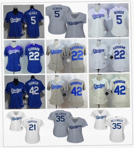 Womens Los Angeles Dodgers Jersey #5 Corey Seager 21 Yu Darvish 22 Clayton Kershaw 35 Cody Bellinger 42 Jackie Robinson Gray Blue White