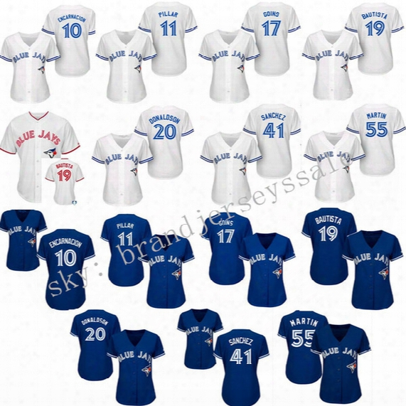 Womens Toronto Blue Jays 40th Anniversary Patch Baseball Jerseys 10 Edwin Encarnacion 11 Kevin Pillar Alternate Throwback 100% Stitched Logo