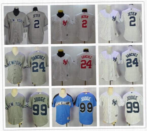 Womens Youth New York Yankees #99 Aaron Judge All Star #2 Derek Jeter Kids #24 Gary Sanchez Pink Mothers White Gray Stitched Jerseys