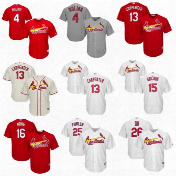 Youth 2017 St. Louis Cardinals 4 Yadier Molina 13 Matt Carpenter 16 Kolten Wong 25 Dexter Fowler #52 Michael Wacha Kids Baseball Jersey