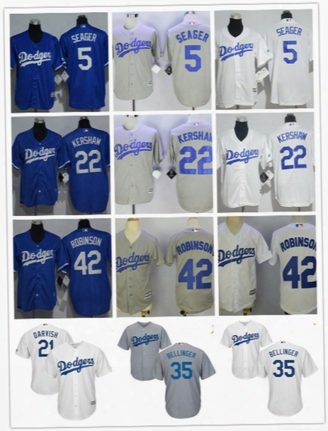 Youth Los Angeles Dodgers Kids Jersey #5 Corey Seager 22 Clayton Kershaw 35 Cody Bellinger 42 Jackie Robinson 21 Darvish Gray Blue White