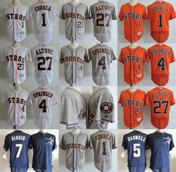 #1 Carlos Correa #27 Jose Alutve #4 George Springer 5 Jeff Bagwell #7 Craig Biggio Houston Astros Jersey Men Stitched Baseball Jerseys