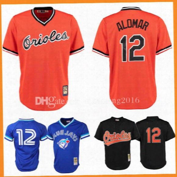12 Roberto Alomar Baseball Jerseys Baltimore Orioles Toronto Blue Jays Mlb 25th Anniversary Mark Roberto Alomar Jersey Embroidery Stitched