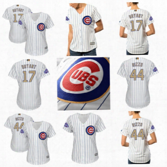 17 Kris Bryant Womens 2017 Gold Program Public Series Champions Patch Chicago Cubs 9 Javier Baez 18 Ben Zobrist 44 Anthony Rizzo Jerseys