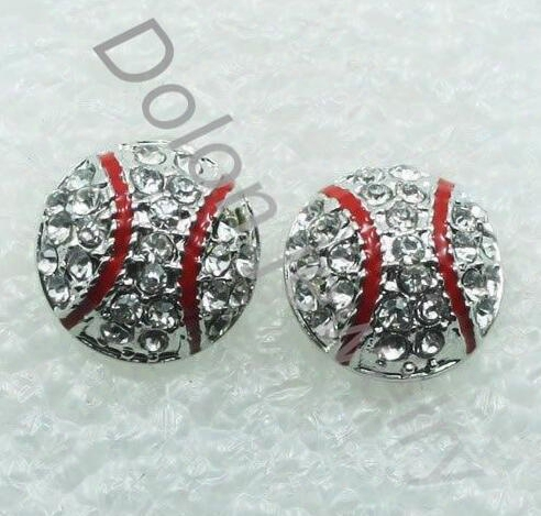 20 Pairs Hot Sale Drop Shipping Dime Size Baseball Earring Stud Base Ball Fans Sports Jewelry 2014 World Cup Diy Handmade Jewelry