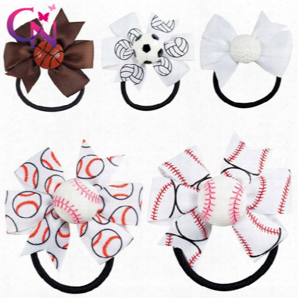 "20 Pcs/lot 3"" Baseball Softball Hair Bow Lot Pinwheel Bow For Sport Team Bow With Basketball Softball"