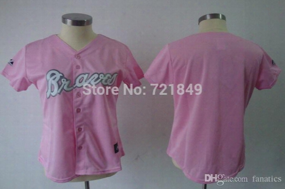 2015 New Excellent Quality!!! Womens Cheap Plain Girls Atlanta Braves Ladies Blank Jerseys Pink With No Name No Number Wholesale For Woma