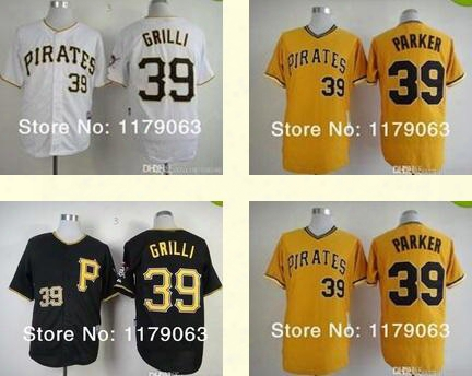 2015 New Pittsburgh Pirates Jersey #39 Jason Grilli Black White Gold Cool Base Baseball Jersey Embrodery Logos,all Stitched 1 Order