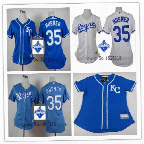 2015 World Series Champions Kc Kansas City Royals Womens Jerseys Ladies Adults Youth 35 Eric Hosmer Flex Base Cool Base Baseball Jerseys