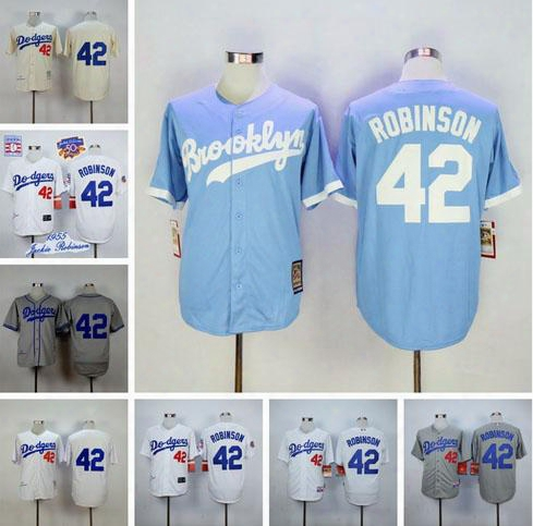 2016 Baseball Jerseys Los Angeles Dodgers 42 Jackie Robinson Throwback Jerseys Embroidery Stitched Shirt Baseball Jersey Gray Free Shipping