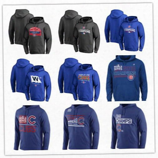 2016 Chicago Cubs World Series Champions Jerseys Hoodies Pullover Sweater Royal Blue Grey Hooded Sports Sweatshirt Hot Sale