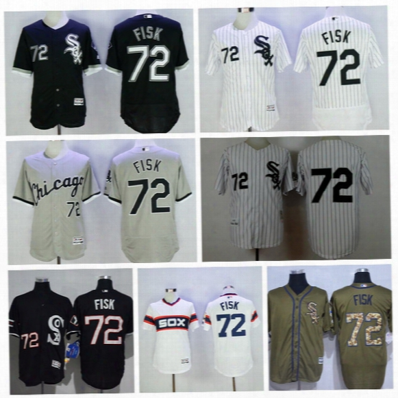 2016 Chicago White Sox 72 Carlton Fisk Jersey Men Fashion Mlb Flexbase Baseball Jerseys Pullover Cool Base White Pinstripe Grey Black Camo