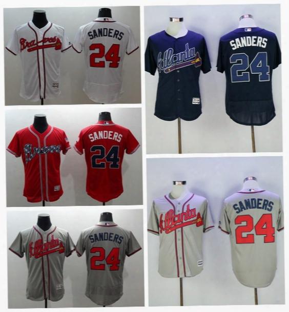 2016 Cooperstown 24 Deion Sanders Baseball Jerseys Atlanta Braves Deion Sanders Jersey Flexbase Cool Base Grey Blue White Red Cream