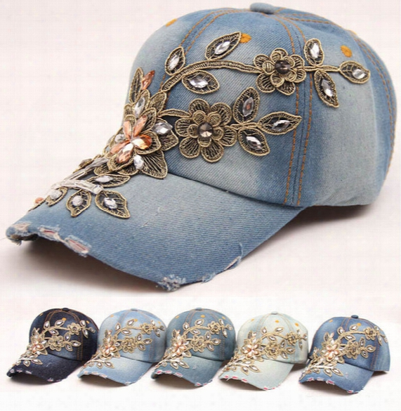 2016 Fashion Denim Baseball Cap Flower Sports Hat Cap Canvas Flower Snapback Hat For Women Good Quality