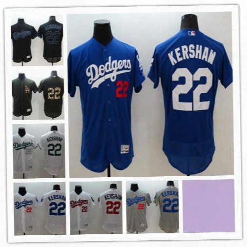 2016 Mens Los Angeles Dodgers 22 Clayton Kershaw Authentic Jersey Blue White Grey Authentic Baseball Jersey Stitched Flexbase