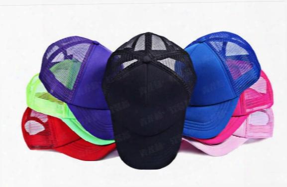 2016 New Arrive Neon Fluorescent / Mesh / Plain / Blank / Trucker / Baseball Hat Cap 5pcs/lot Free Shipping 6 Colors