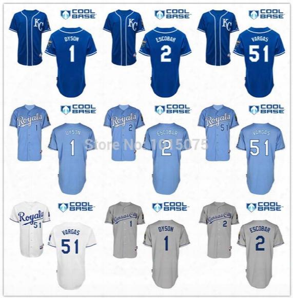 2016 New Kansas City Royals Jersey Cool Base Alcides Escobar, Jarrod Dyson, Jason Vargas White Grey Baby Kc Blue