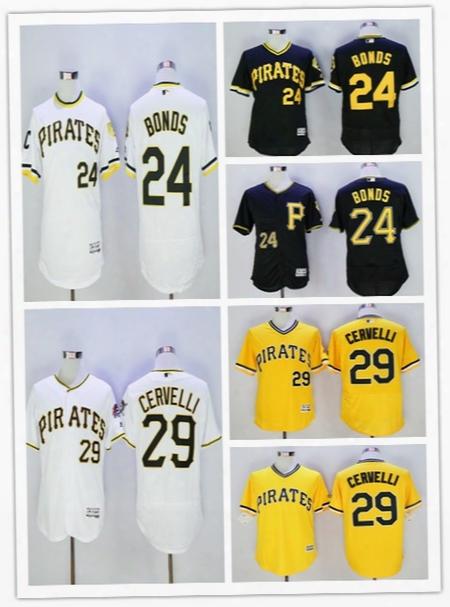 2016 New Men's Pittsburghs Pirates #24 Barry Bonds #29 Francisco Cervelli Jersey 100% Stitched Baseball Jersey