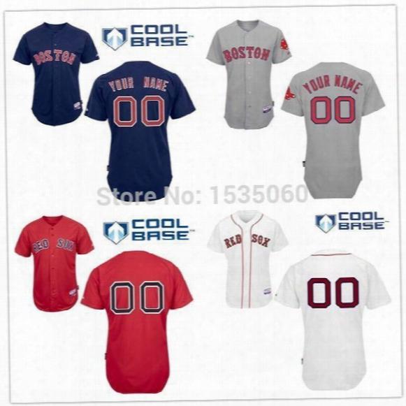 2016 New Personalized Boston Red Sox Jersey Custom Stitched Authentic Baseball Jerseys Cheap Customized White Grey Red Men Size 60 M-xxxl