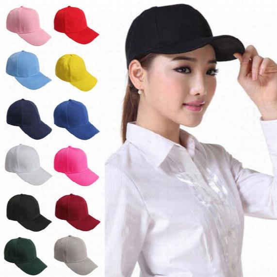 2016 Stylish Men Women Plain Baseball Cap Blank Adjustable Solid Hat Pre Curved Visor Plain Fitted Baseball Cap Curved Visor Solid Blank Cap