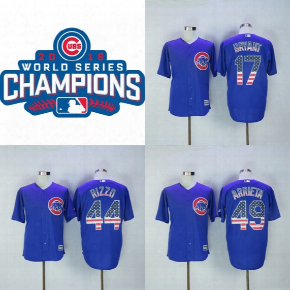 2016 World Series Champions Cubs Jersey Men's 17 Kris Bryant 44 Anthony Rizzo 49 Jake Arrieta 100% Stitched Embroidery Logos Hockey Jerseys