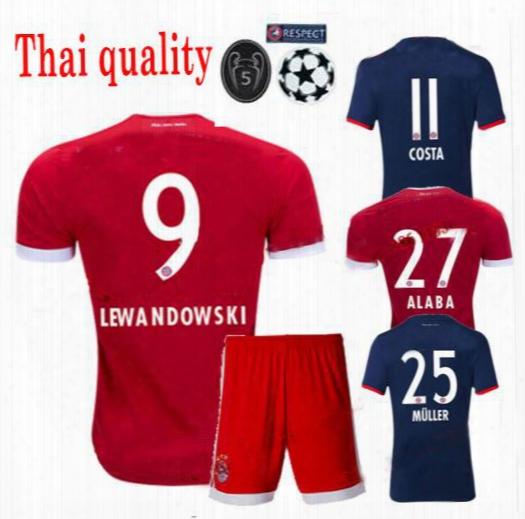 2017 2018 James Vidal Coata Home Away Red Jerseys 17 18 Lewandowski Muller Robben Gotze Boateng Alaba Goalkeeper Kit Sports Shirt