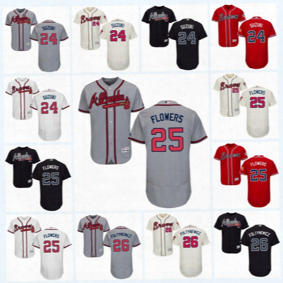 2017 Atlanta Braves Jersey 24 Kurt Suzuki 25 Tyler Flowers 26 Mike Foltynewicz Flexbase Onfiled Jersey