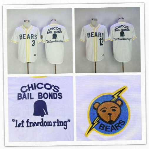 2017 Bad News Bears Movie Button Down Jersey 3# 12# Bad News Bears Chicos Bail Bonds Retro Baseball Jersey