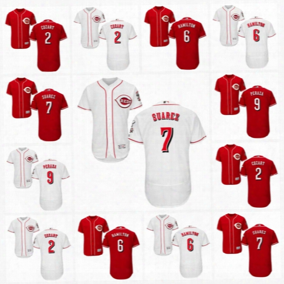 2017 Cincinnati Reds Jersey #2 Zack Cozart #6 Billy Hamilton #7 Eugenio Suarez #9 Jose Peraza #15 Dilson Herrera Flexbase Baseball Jersey