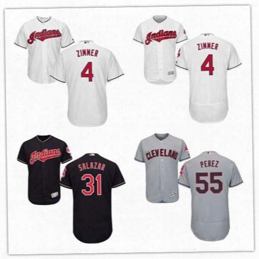 2017 Cleveland Indians Jersey #55 Roberto Perez #31 Danny Salazar #4 Bradley Zimmer Flex Base Baseball Jerseys