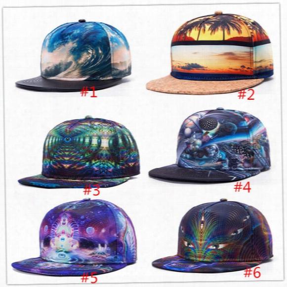2017 Hat 3d Printinng Cap Buddha Pattern Sports Hat Baseball Cap Women Men Baseball Caps Fitted Snapbacks Caps Fashion Hip Hop Caps 6 Styles