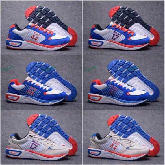 2017 Men Chicago Cubs #17 Kris Bryant #44 Anthony Rizzo Baseball Shoes Majestic Royal Basketball Shoes Sports Running Shoes