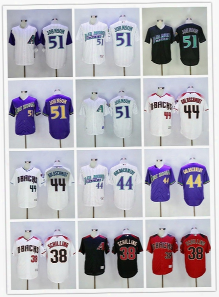 2017 Men's Arizona Diamondbacks #38 Curt Schilling#44 Paul Goldschmidt 51 Randy Johnson Baseball Jerseys Stitched Free Shipping