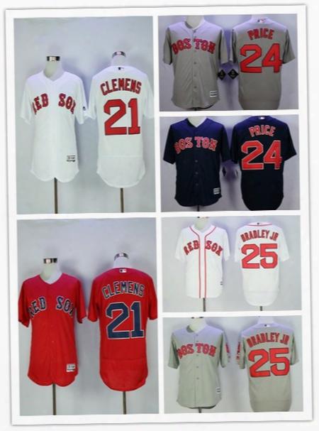 2017 Men's Boston Red Sox #21 Roger Clemens # 24david Price #25 Jackie Bradley Jr Blue White Red Gray Baseball Jerseys Wholesale