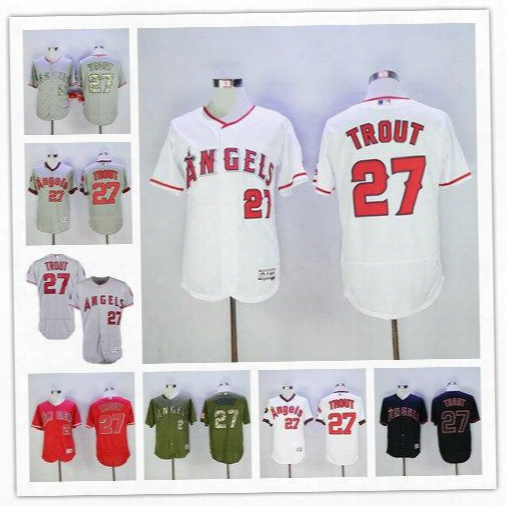 2017 Men's Los Angeles Angels Of Anaheim #27 Mike Trout White Red Flexbase Authentic Collection Player Jersey High Quality Baseball Jerse
