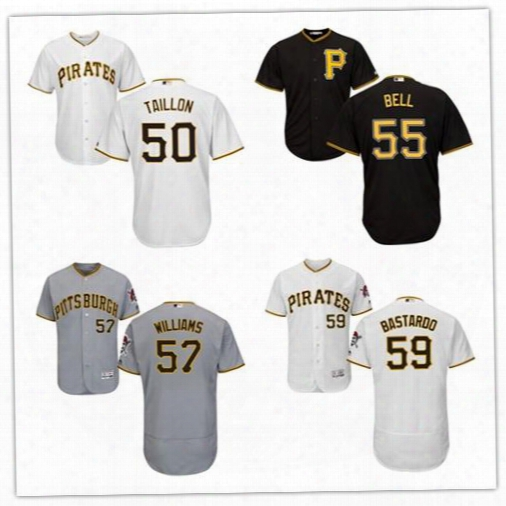 2017 Men's Pittsburgh Piraets 50 Jameson Taillon 55 Josh Bell 57 Trevor Williams 59 Antonio Bastardo Jersey Size S-6xl