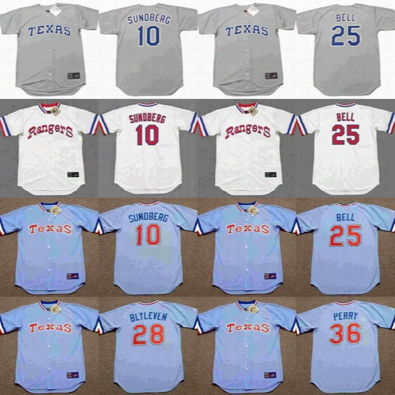 2017 Men's Texas Rangers 10 Jim Sundberg 25 Buddy Bell 28 Bert Blyleven 36 Gaylord Perry Throwback Baseball Jerseys Stitched Baseball Jersey