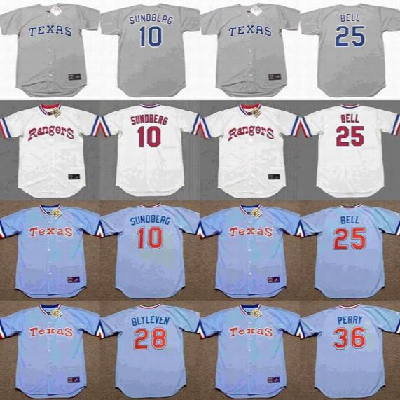 2017 Men's Texas Rangers 10 Jim Sundberg 25 Buddy Bell 28 Bert Blyleven 36 Gaylord Perry Throwback Baseball Jerseys Stitched Baseball Jersey