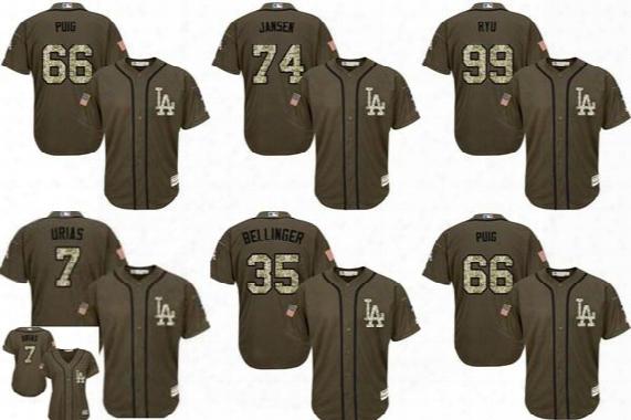 2017 Mens Ladies Kids Los Dodgers Cody Bellinger Julio Urias Yasiel Puig Kenley Jansen Hyun-jin Ryu Green Salute Cool Flex Baseball Jerseys