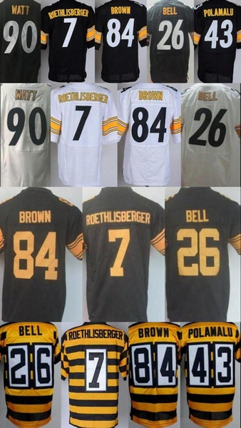 2017 Mens Stitched 84 Antonio Brown Jerseys Men 7 Ben Roethlisberger 43 Troy Polamalu Le'veon Bell 90 T.j. Watt Elite Color Rush Jersey