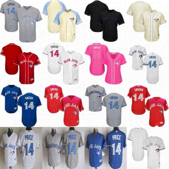 2017 Mens Womens Kids Toronto Blue Jays Justin Smoak Father Fashion Canada Mother Usmc Blue Grey Red Cream White Cool Flex Baseball Jerseys