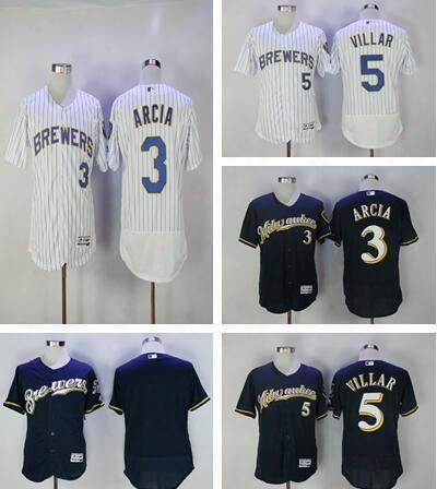 2017 Milwaukee Brewers Baseball Jersey Flex Base 3 Orlando Arcia 5 Jonathan Villar Cool Base White Blue Grey Stitched Jerseys Mens Cheap