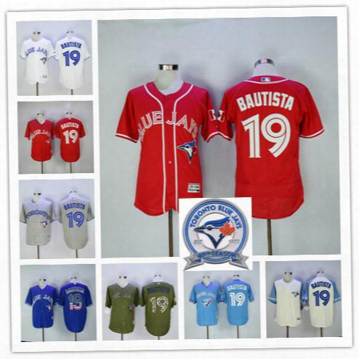 2017 Mlb Official Cool Base Stitched 40th Season Toronto Blue Jays #19 Jose Bautista White Blue Red Gray Jerseys Mix Order Free Shipping