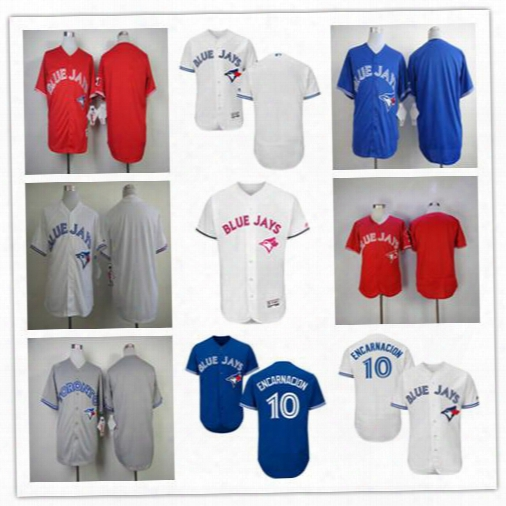 2017 Mlb Toronto Blue Jays Blank No Name No Number Jerseys White Blue Red Grey Cheap 10 Edwin Encarnacion Baseball Jerseys Stitched Logos