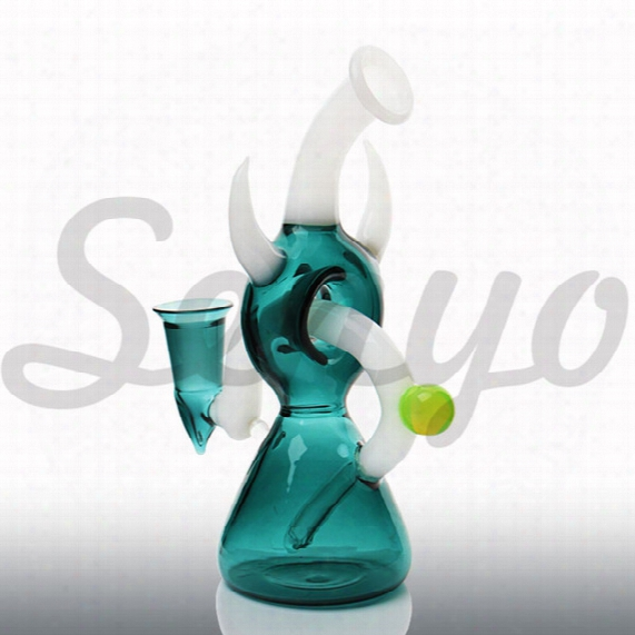 2017 New Beautiful Design Glass Bongs Dark Blue Water Pipe 11.4inch Hight Bongs Helix Perc Bong Oil Rig With 14mm Joint